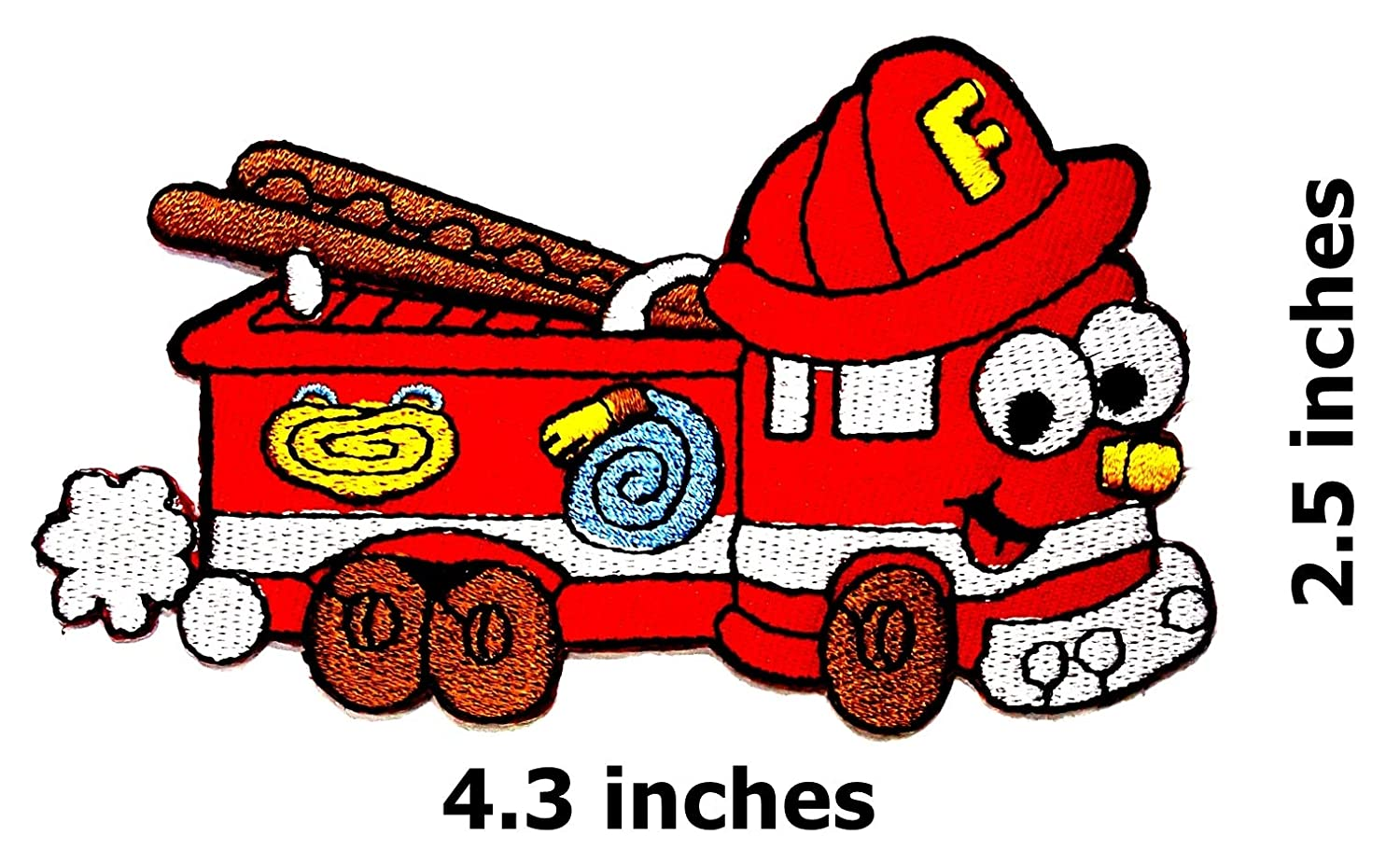 89dc08327ce Smiley Face Fireman Fire Engine Fire Truck Firefighter Rescue Bus Car  Cartoon Children Kid Patch Clothes Bag T-Shirt Jeans Biker Badge Applique  Iron on/Sew ...