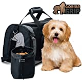 Gorilla Grip The Original Pet Purse Carrier Bag for Dogs or Cats, Free Travel Bowl, Locking Safety Zippers, Airline Approved, Up to 15lbs, Sherpa Insert, Perfect for Airplane, Train, and Car Travel