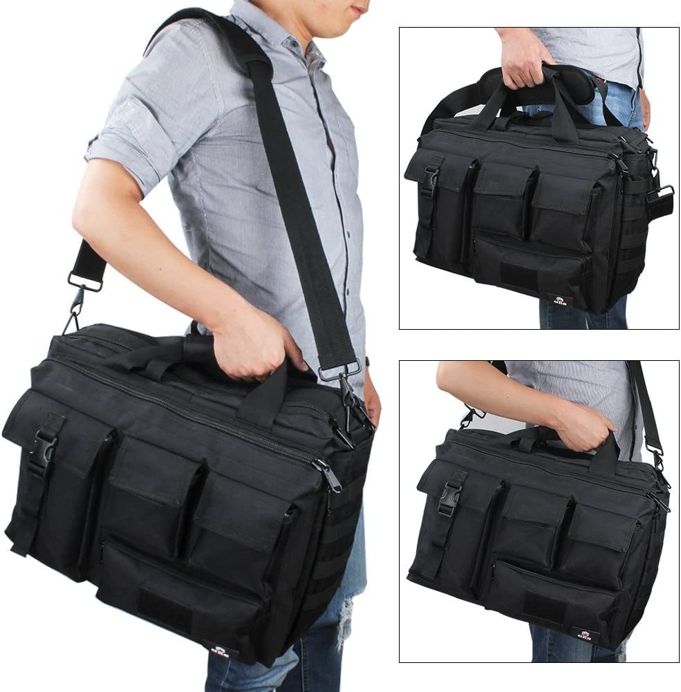 GES Multifunci/ón Mens al Aire Libre t/áctico Hombro de Nylon port/átil Messenger Bag malet/ín Bolsos Grandes para 15.6port/átil//c/ámara Marr/ón