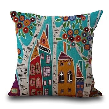Amazon.com: YJ oso abstracto casa árbol impresión Lino ...