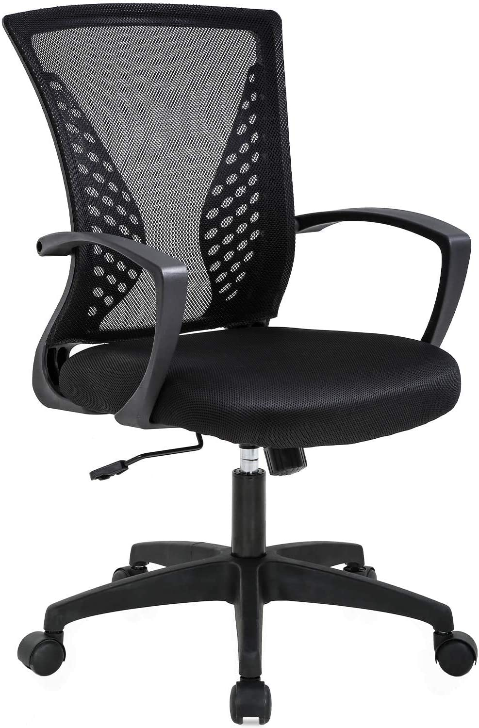 Black Simple Home Ergonomic Desk Office Chair Mesh Computer Chair, Lumbar Support Modern Executive Adjustable Stool Rolling Swivel Chair for Back Pain, Chic Modern Best Home Computer Office Chair