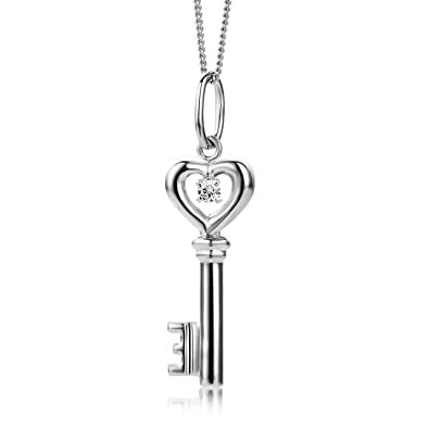 Miore gold necklace 9ct white gold key pendant ma933p amazon miore gold necklace 9ct white gold key pendant ma933p aloadofball