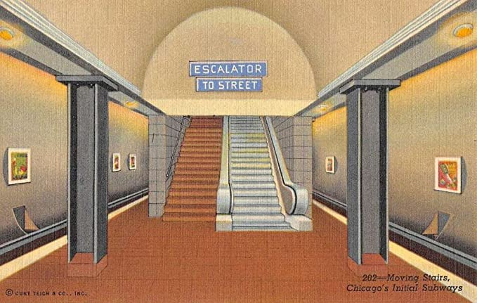 Chicago Illinois Initial Subway Moving Stairs Escalator Antique Postcard  K79541