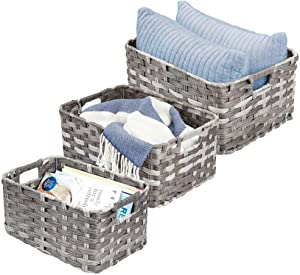 mDesign Rectangular Woven Braided Rope Home Storage Baskets with Handles - for Organizing Closet, Bedroom, Bathroom, Living Room, Entryway, Office - Nested Bins in Different Sizes - Set of 3 - Gray
