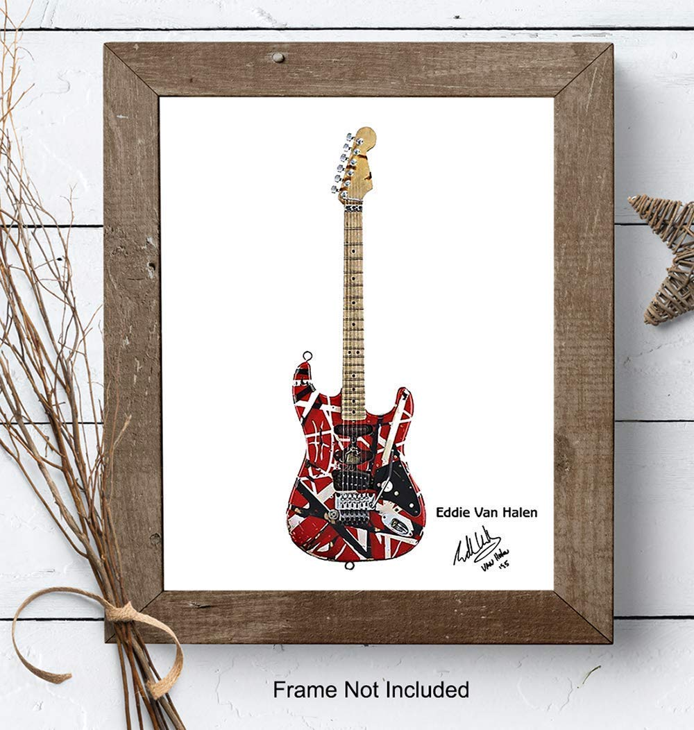 Unique Home Decor and Great Inexpensive Gift for Musicians and Eighties 80s Music Fans Eddie Van Halen Guitar Art Print 8x10 Photo Unframed Wall Art Poster
