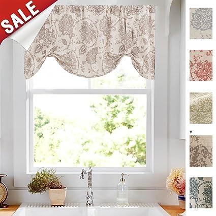Amazon.com: Tie-up Valances for Windows Jacobean Floral Printed Tie ...