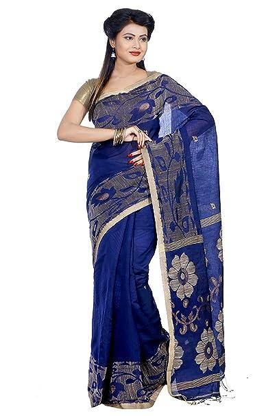 Desconocido Vestido de Bollywood Sari de Seda de Mujer Sari con Pieza de Blusa (Azul