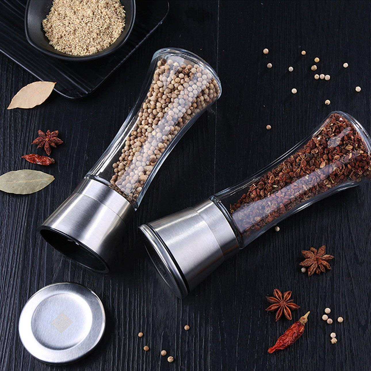 Ballylelly Molinillo de molinillo de pimienta de acero inoxidable Molinillo de pimiento de sal manual Molinillo de molinillo de hierba Molinillo de pimienta ajustable
