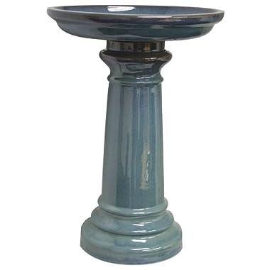 World Source East GP0110ES Sun Pottery Bird Bath, Light Blue