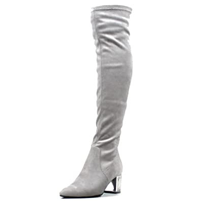 df42fa7f12c Viva Womens Clear Pointed Toe Perspex Block Heel Sock Fit Thigh High Boots  - Grey - UK10 EU43 - YE0010  Amazon.co.uk  Shoes   Bags