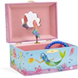 (Mermaid Blue and Pink) - JewelKeeper Mermaid Musical Jewellery Box, Underwater Design with Narwhal, Over The Waves Tune