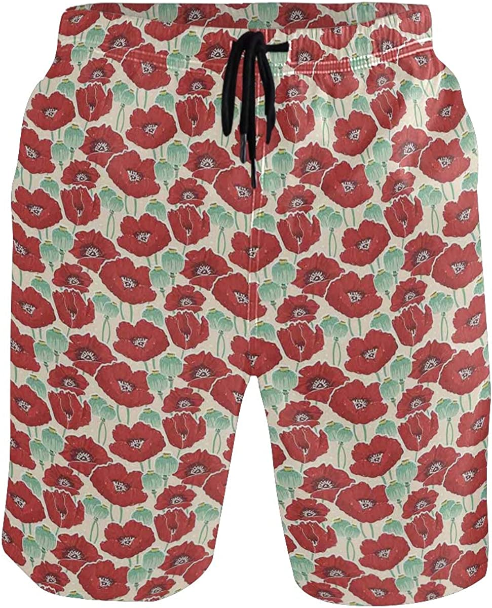 COVASA Mens Summer ShortsSpring Garden Pattern with Red Blossoms Seed Capsules