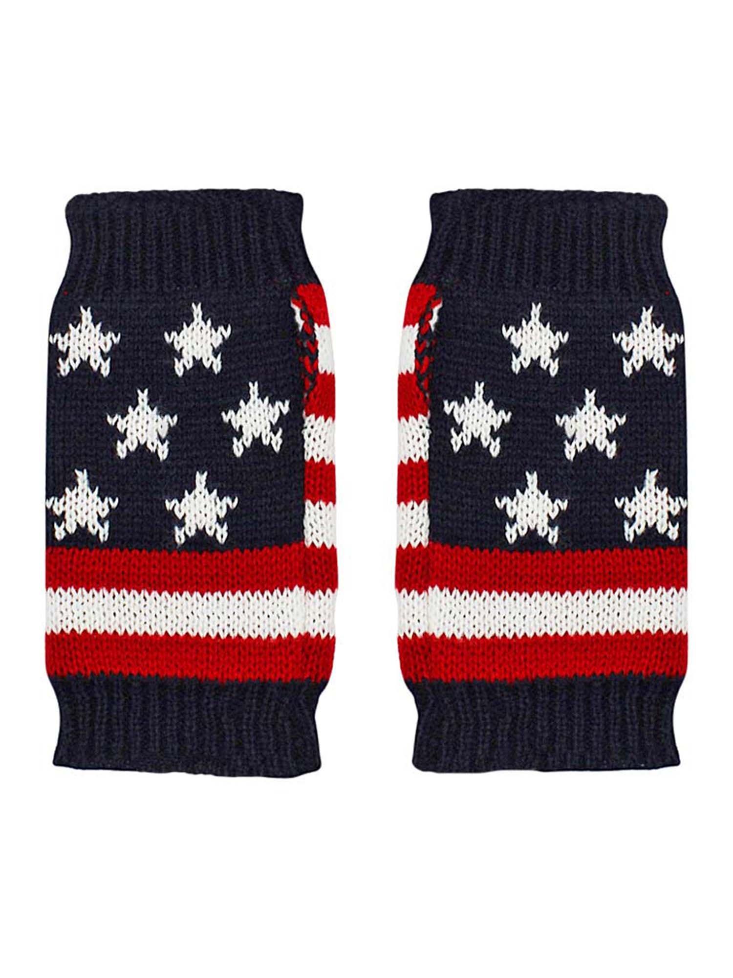 American Flag Knit Fingerless Glove Arm Warmers