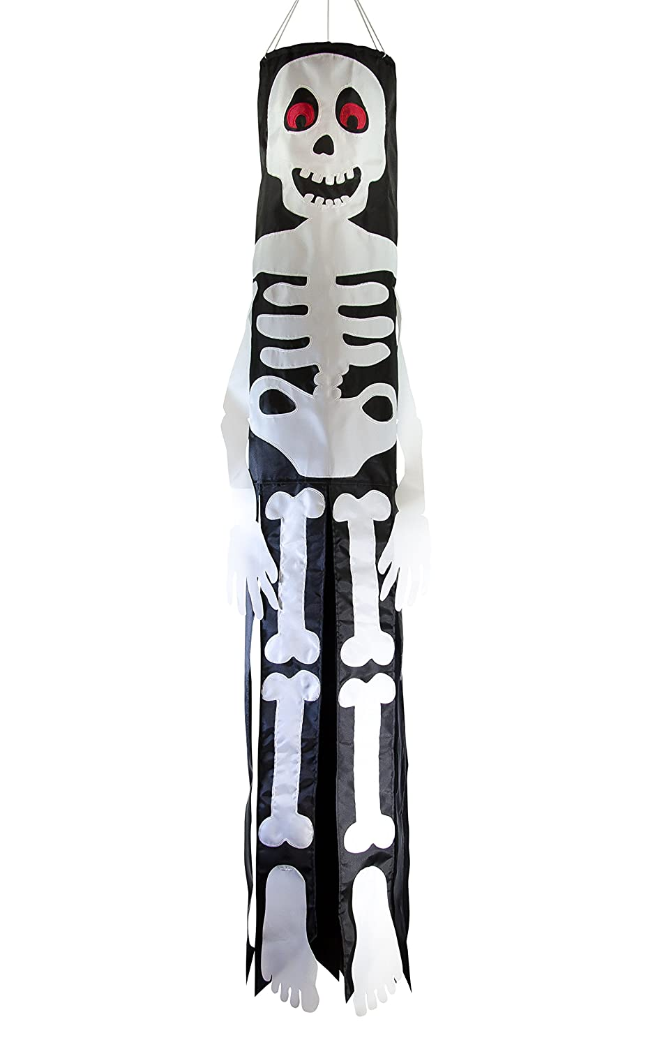 In the Breeze Bones Skeleton 60 Inch Windsock - Hanging Halloween Decoration - Outdoor Holiday Décor 5022