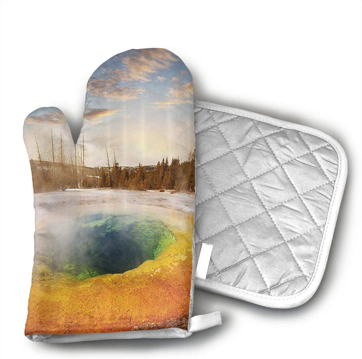 O1rY1bS Morning Glory Pool in Yellowstone National Park Oven Mitts BBQ Oven Gloves Baking Pot Mitts for Kitchen Cooking