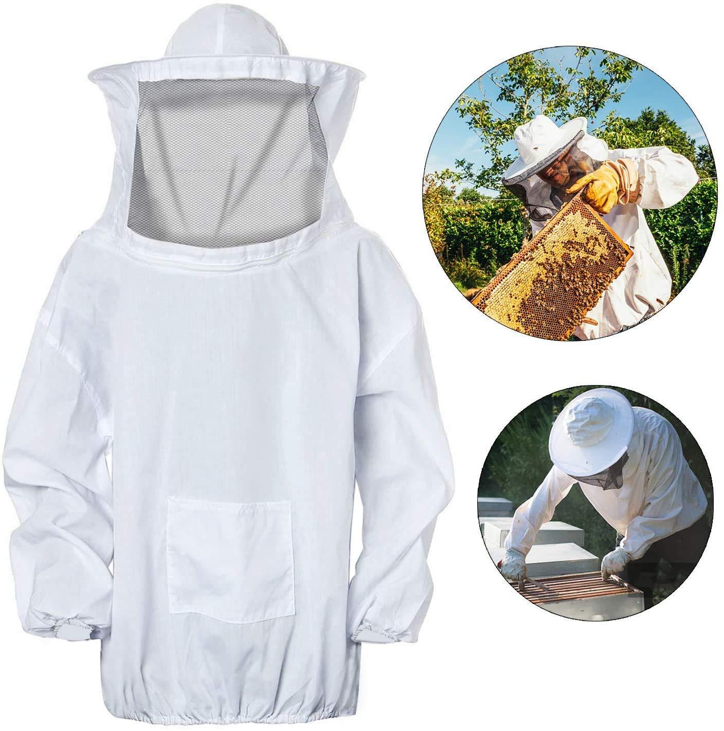 Bianco Apicoltura Cappotto Velo Apicoltura Cappotto Protettivo Apicoltura Tuta Protettiv in Cotone Bianco Professionale Con Cappello e Velo Tuta Apicoltura