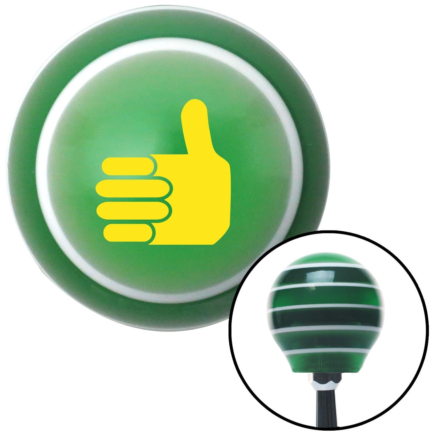 American Shifter 122658 Green Stripe Shift Knob with M16 x 1.5 Insert Yellow Thumbs Up