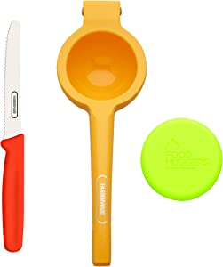 Farberware Healthy Eating Set (Citrus Squeezer, Paring Knife, Small Food Hugger), 3-Piece, Orange Green and Red