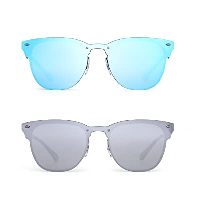 a117a5b4aa9 JIM HALO Rimless Mirrored Sunglasses Women Men One Piece Horned Rimmed  Glasses 2 Pack (Blue