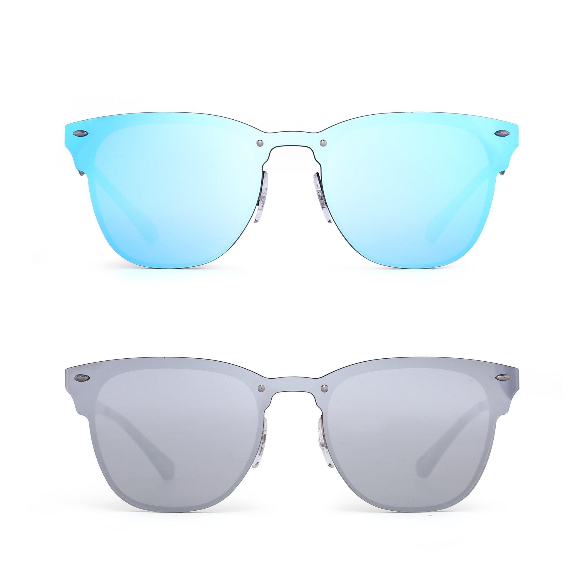 Rimless Mirrored Sunglasses One Piece Horned Rimmed Metal Eyeglasses Women Men 2 Pack (Blue & Silver)