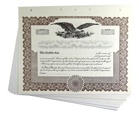 Amazon.com : Blank Brown Stock Certificates with Stubs for ...