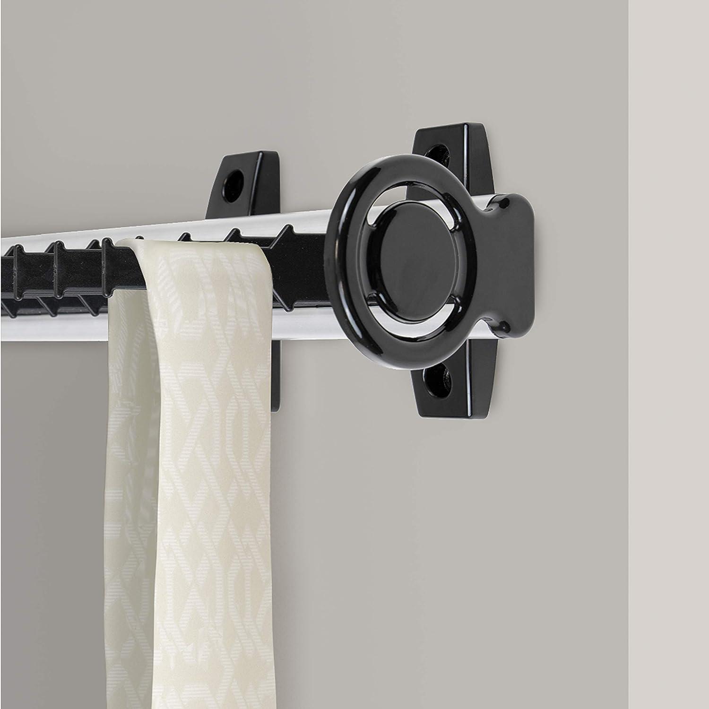 matt eloxiert und schwarz. Ausziehbarer seiticher Krawattenhalter f/ür Schr/änke Aluminium und Kunststoff Emuca