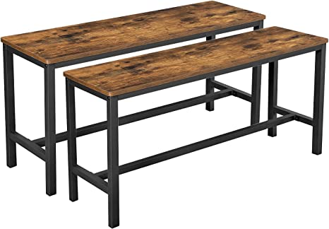 Amazon Com Vasagle Dining Bench Table Bench Set Pair Of 2 Industrial Style Indoor Benches 42 5 X 12 8 X 19 7 Inches Durable Metal Frame For Kitchen Dining Room Living Room Rustic Brown Uktb33x Table Benches