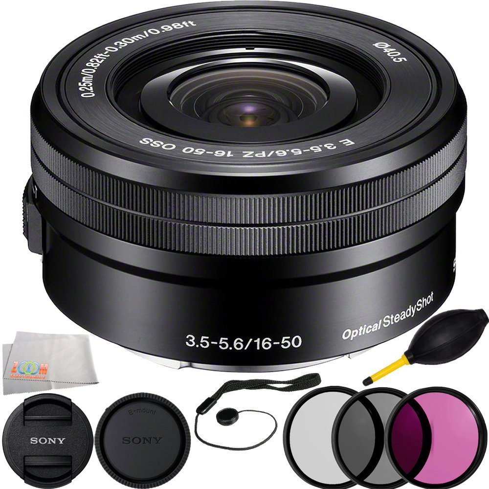 Sony SELP1650 16-50mm Power Zoom Lens (White Box) + 6PC Bundle Includes 3 Piece Filter Kit (UV-CPL-FLD) + Cap Keeper + Lens Dust + Microfiber Cleaning Cloth Centre Drone