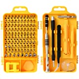 Ufanore 110 in 1 Screwdriver,Professional Multi-function Screwdriver Magnetic Repair Tool Kit Compatible with Cell Phone, iPhone, iPad, Watch, PC, Laptop and more.(Yellow)