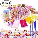 Slime Supplies Foam Beads Making Kit - Pom Poms Fish Bowl Styrofoam Balls Rainbow Loom Fruit Slices 3 Tools Pack Decorative Floral Floam Cloud Crunchy Package DIY Craft Stuff for Girls Boy Kids Adult