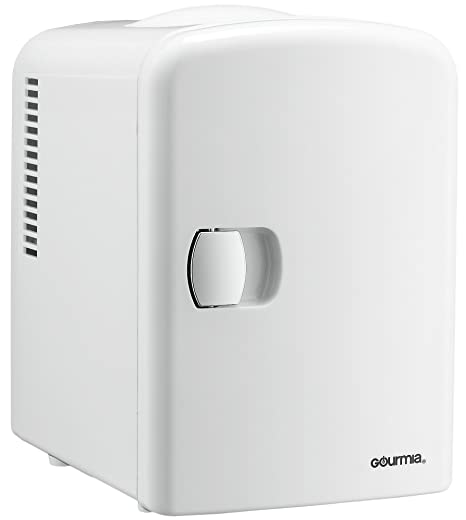 Gourmia Gmf600 Thermoelectric Mini Fridge Cooler And Warmer   4 Liter/6 Can   For Home,Office, Car, Dorm Or Boat   Compact & Portable   Ac & Dc Power Cords   White by Gourmia