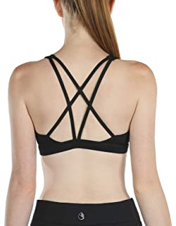 CLOUSPO Sports Bras for Women Strappy Padded Crisscross Back Wirefree Removable Pads Yoga Bra for Workout Fitness Tops Bra