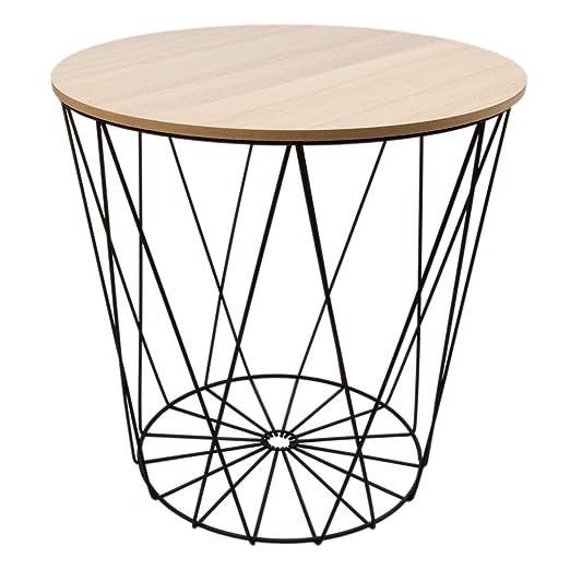 Beistelltisch metall draht weiß  Tisch Design Beistelltisch Drahtkorb Metall mit Deckel Weiß ...