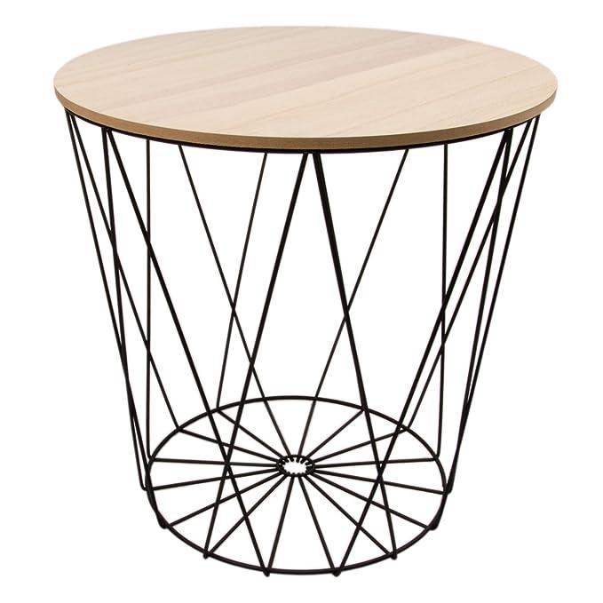 House Vitamin Tisch Design Beistelltisch Drahtkorb Metall mit Deckel ...