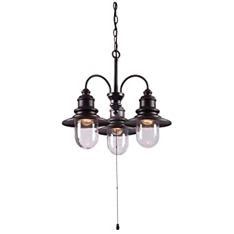 Kenroy Home 93033ORB Broadcast 3 Light Outdoor Chandelier In Oil Rubbed  Bronze With Copper Highlights