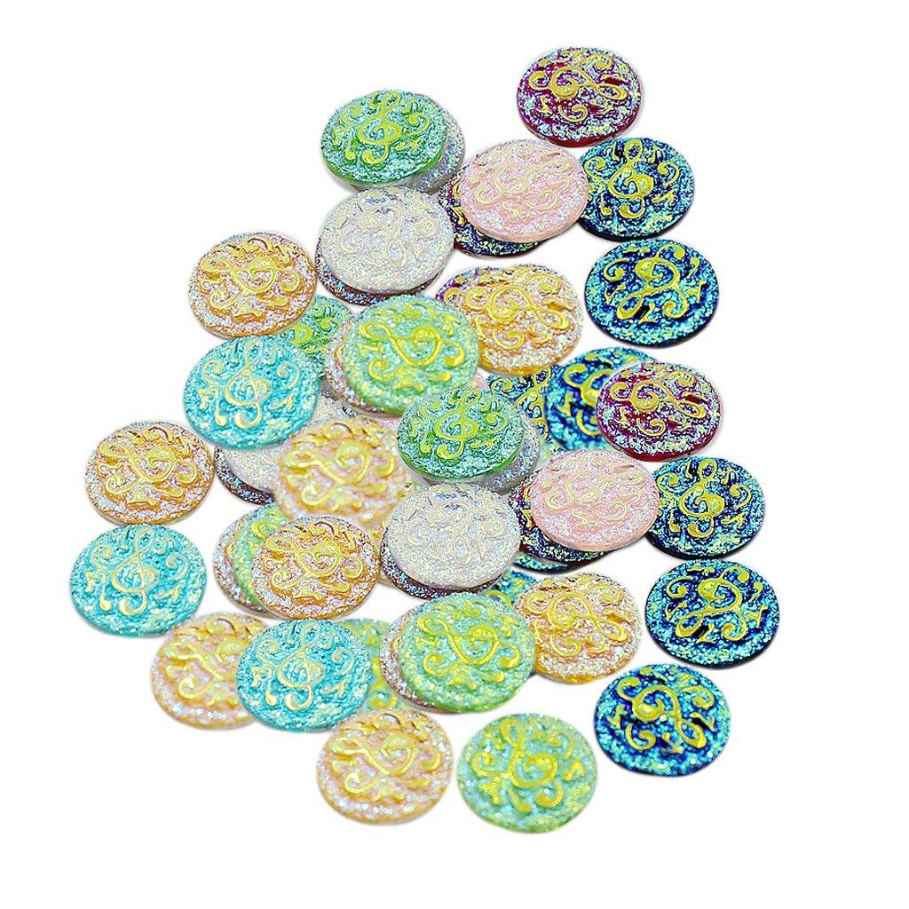 Amazon.es: NON Sharplace 50PCS Surtidos de Abalorios de Bisutería Para Scrapbooking Redondos Adornos - Mezcla de color: Juguetes y juegos
