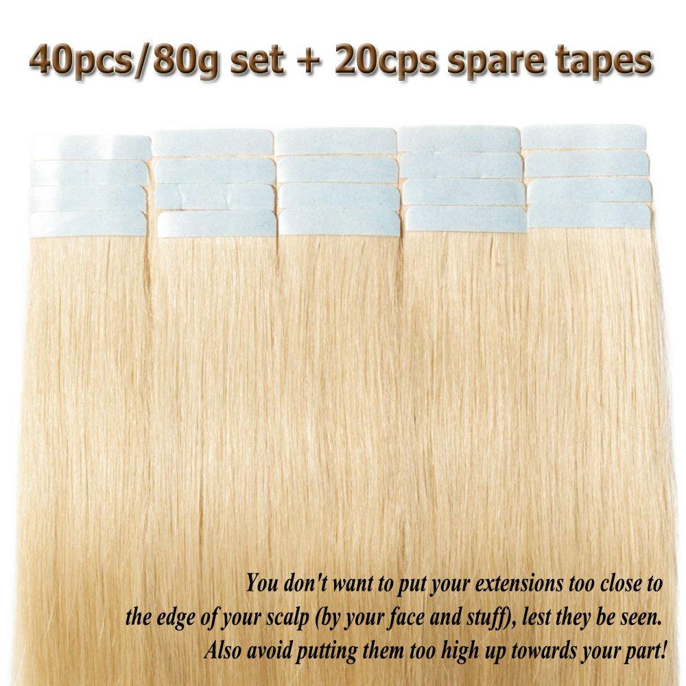 Amazon 18 Inch 40pcs 80gpack Tape In Hair Extensions Remy