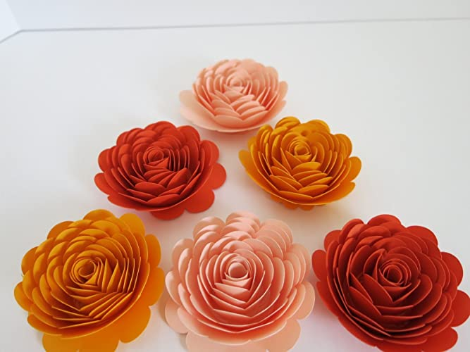 Shades Of Orange Paper Flowers Set Of 6 3 Roses Fall