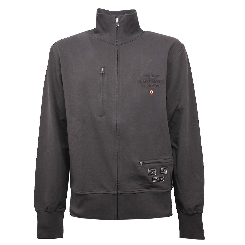 Aeronautica Militare C1000 Felpa  Herren Grigio Scuro Grau Full Zip Sweatshirt Men