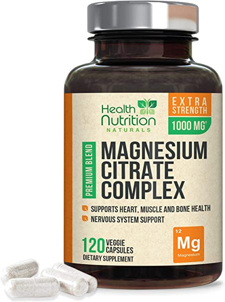 High Potency Magnesium Citrate Capsules 1000mg - Gentle, Chelated Complex for Max Absorption, Made in USA, Best Bowel Supplement That Supports The Colon and Also Supports Restful Sleep - 120 Capsules