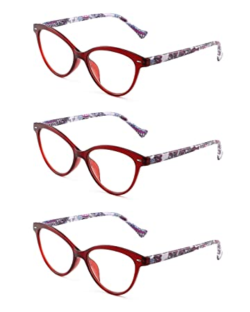 c69bfcc724e Image Unavailable. Image not available for. Color  JM 3 Pack Ladies Stylish Cat  Eye Reading Glasses Spring Hinge Floral ...