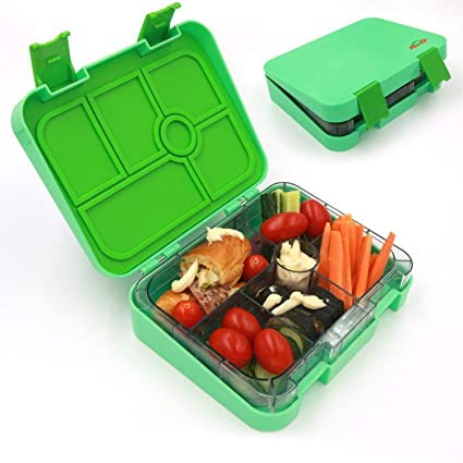 d564310b9d AOHEA Kids School Lunch Box 6 Compartment, Bento Lunch Box Separate, Plastic  Food Storage Container, BPA Free, Christmas Gifts Man, Women, Green, ...