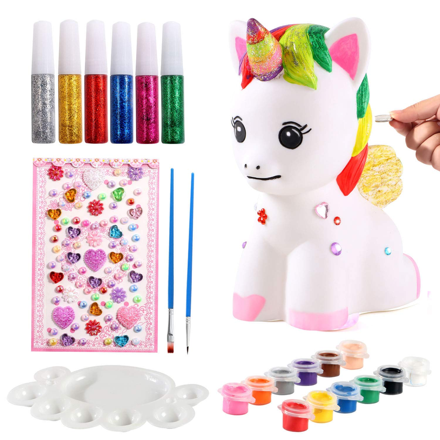 ACEHOOD Unicorn Gift for Girls Paint Your Own Unicorn DIY Craft Paint Art Supplies Unicorn Piggy Bank Coin Bank Unicorn Painting Kit Birthday Gift for Kids by ACEHOOD
