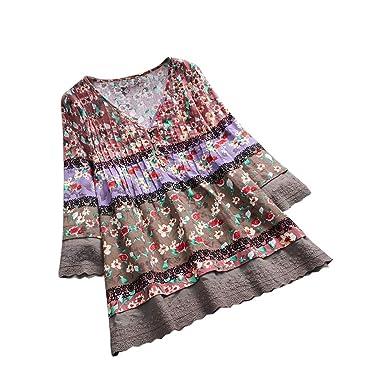 bbd1bf371ea2 Women Tops Plus Size Long Sleeve Bohemia Button Down Blouse Loose V Neck  Splice Shirts (