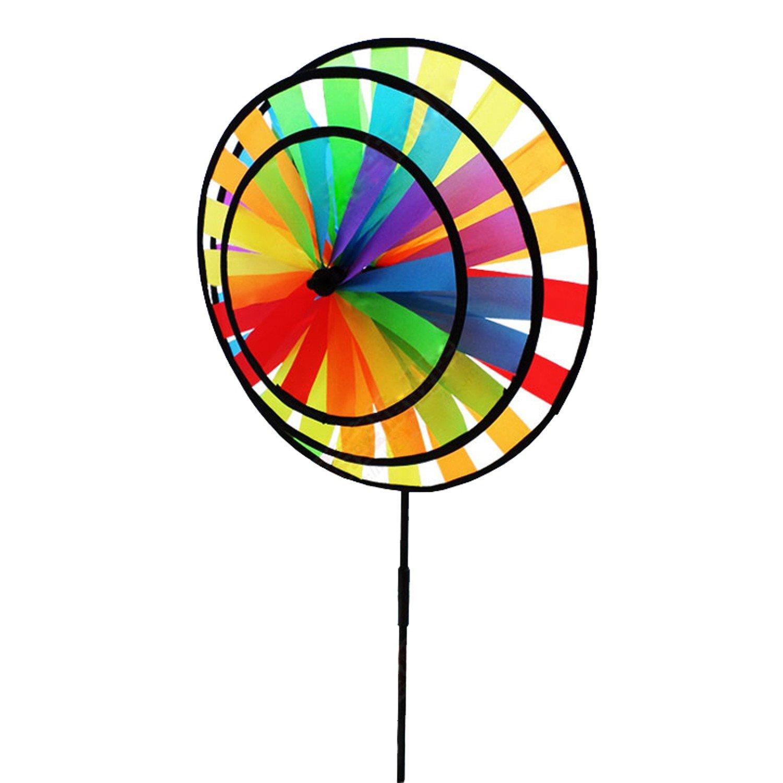 風車おもちゃRainbow TripleホイールWind Spinner美しい芸術、TouchをYourアウトドアキャンプ庭使用 B06XS52NW2