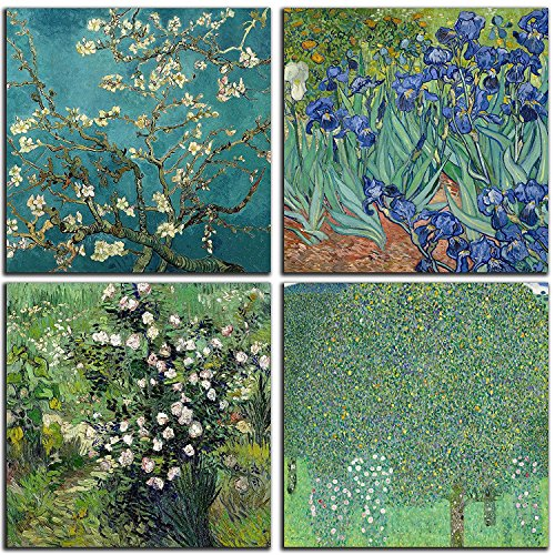 NAN Wind 4Pcs Modern Framed Artwork Almond Blossom and Iris Flower Oil Paintings Reproduction Pictures for Home Decoration Modern Painting Wall Decor Canvas