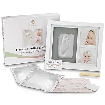 Baby Bilderrahmen Set aus Holz mit Glasfront für Baby Fußabdruck Handabdruck