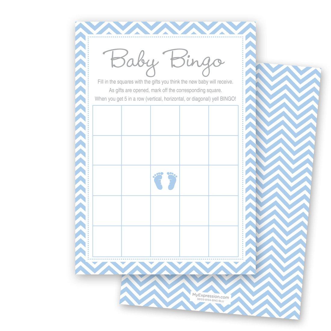 MyExpression.com 24 Cnt Blue Baby Feet Footprint Baby Bingo Cards