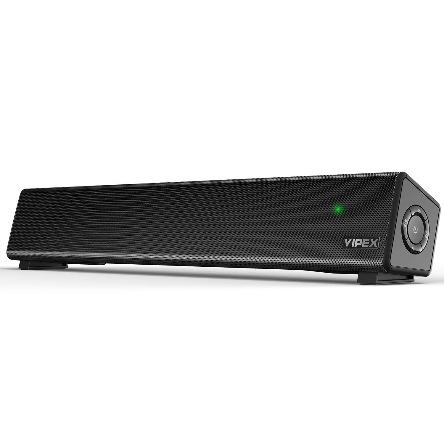 Computer Speakers – Bluetooth 5.0 PC Speakers Sound Bar, 10W Powerful Stereo Small Soundbar Speaker for TV, PC, Smartphone, Tablet and Laptop, Wireless and AUX-in Connection, Wall Mountable