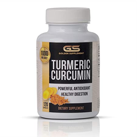 Turmeric Curcumin with bioperine 1000mg 120 Capsules Nature Super antioxidant Powerful Anti-inflammatory Extra Strength for Joint Pain Relief by Golden Supplement, Ultra High Absorption,100 Organic